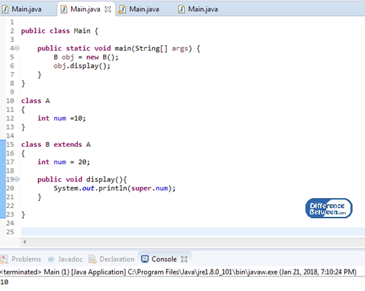 Difference Between this and super in Java_Figure 02